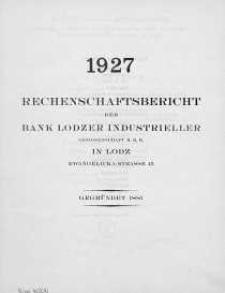 Rechenschaftsbericht fuer das Jahr 1927 der Bank Lodzer Industrieller Genossenschaft M.B.H in Lodz