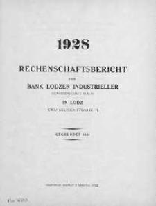 Rechenschaftsbericht fuer das Jahr 1928 der Bank Lodzer Industrieller Genossenschaft M.B.H in Lodz