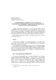 Komputeryzacja Bibliotek Zakładowych Uniwersytetu Łódzkiego - od katalogu kartkowego do katalogu komputerowego
