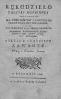 Rękodzieło fabryki sukienney które w Krakowie 1786 dla wielu pożytków i zatrudnienia ubogich pracą jest ustanowione. Cz. 1-3