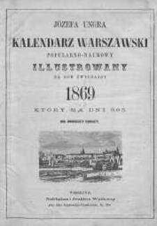 Józefa Ungra Kalendarz Warszawski Popularno-Naukowy na rok 1869