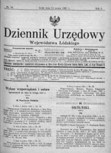 Dziennik Urzędowy Województwa Łódzkiego 14 marzec 1921 nr 10