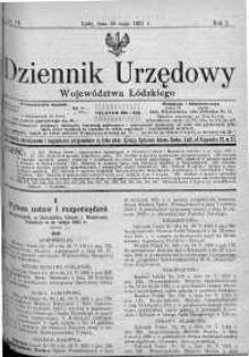 Dziennik Urzędowy Województwa Łódzkiego 30 maj 1921 nr 19