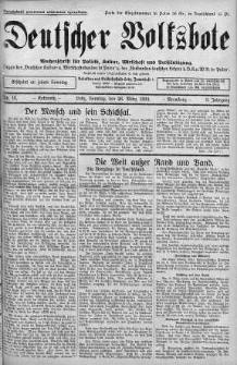 """Deutscher Volksbote: Wechenschrift fur Politik, Kulture, Wirtschaft und Verstandigung. Organ des """"Deutschen Kultur - und Wirtschaftsbundes in Polen"""" 26 marzec 1933 nr 13"""