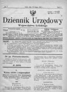 Dziennik Urzędowy Województwa Łódzkiego 18 luty 1922 nr 7