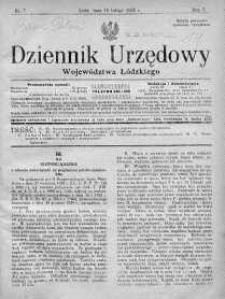 Dziennik Urzędowy Województwa Łódzkiego 15 luty 1926 nr 7