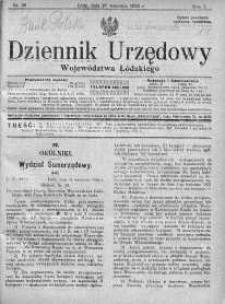 Dziennik Urzędowy Województwa Łódzkiego 20 wrzesień 1926 nr 38