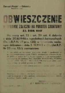 Obwieszczenie w sprawie zaliczki na podatek gruntowy za rok 1947