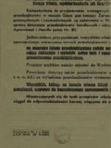 Ogłoszenie w sprawie prowadzenia przedsiębiorstw przemysłowych, rzemieślniczych, handlowych i usługowych na terenie miasta Gdyni