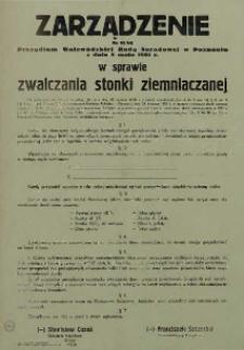Zarządzenie Nr 11/61 Prezydium Wojewódzkiej Rady Narodowej w Poznaniu w sprawie zwalczania stonki ziemniaczanej