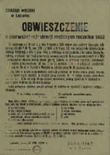 Obwieszczenie o pierwszej rejestracji mężczyzn rocznika 1932