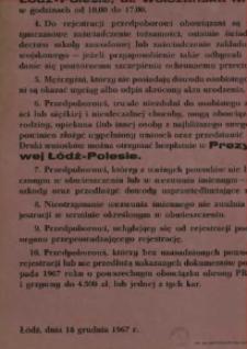 Obwieszczenie o rejestracji przedpoborowych – mężczyzn urodzonych w 1950 roku. Łódź-Polesie