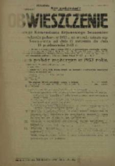 Obwieszczenie Wojskowego Komendanta Rejonowego Sosnowiec o przeprowadzeniu poboru w 1953 r. na terenie miasta wydzielonego Sosnowca od dnia 15 września do dnia 15 października 1953 r.