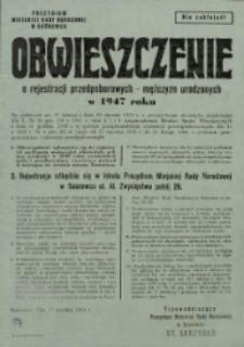 Obwieszczenie o rejestracji przedpoborowych mężczyzn urodzonych w 1947 roku