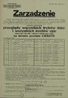 Zarządzenie ogłaszam niniejszym przeglądy wszystkich tryków (baranów) i wszystkich kozłów (capów) na terenie powiatu Cieszyn