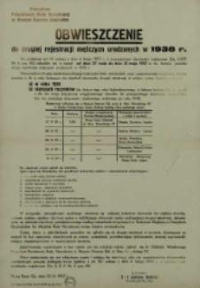 Obwieszczenie o drugiej rejestracji mężczyzn urodzonych w 1938 r.