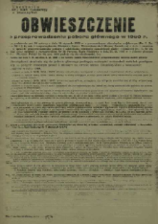 Obwieszczenie o przeprowadzeniu poboru głównego w 1960 r.
