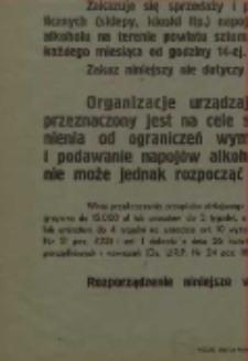 Rozporządzenie Starosty Powiatowego Sztumskiego z dnia 22 grudnia 1948 roku w sprawie ograniczeń w sprzedaży i wyszynku napojów alkoholowych