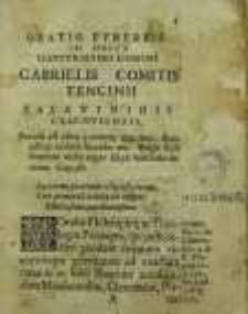 Oratio Fvnebris In Obitv Illvstrissimi Domini Gabrielis Comitis Tencini Palatinidis Cracoviensis.