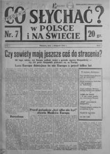 Co słychać w Polsce i na Świecie 1 listopad 1936 nr 7