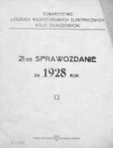 Sprawozdanie.Towarzystwo Łódzkich Wąskotorowych Elektrycznych Kolei Dojazdowych 1928
