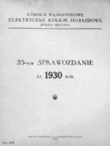 Sprawozdanie.Towarzystwo Łódzkich Wąskotorowych Elektrycznych Kolei Dojazdowych 1930