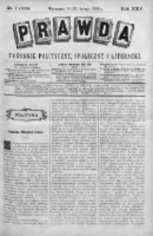 Prawda. Tygodnik polityczny, społeczny i literacki 1905, Nr 7