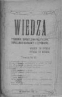 Wiedza. Tygodnik społeczno-polityczny, popularno-naukowy i literacki 1909, Rok III, Tom I, Nr 17
