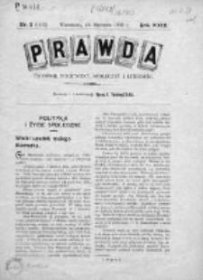 Prawda. Tygodnik polityczny, społeczny i literacki 1909, Nr 3