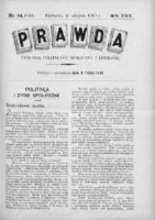 Prawda. Tygodnik polityczny, społeczny i literacki 1910, Nr 34