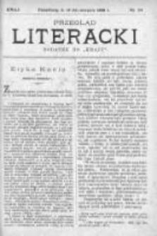 """Przegląd Literacki. Dodatek do """"Kraju"""" tygodnika polityczno-społecznego wydawanego w Petersburgu od roku 1882. 1888, nr 34"""