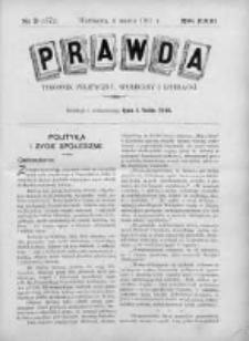 Prawda. Tygodnik polityczny, społeczny i literacki 1911, Nr 9