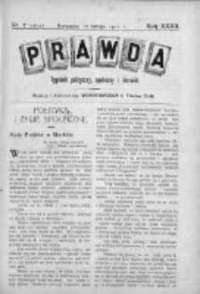 Prawda. Tygodnik polityczny, społeczny i literacki 1912, Nr 7