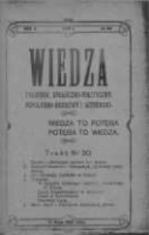 Wiedza. Tygodnik społeczno-polityczny, popularno-naukowy i literacki 1908, Rok II, Tom I, Nr 20