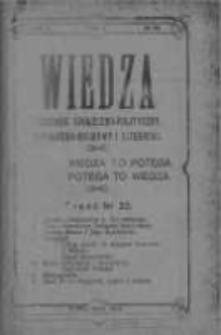 Wiedza. Tygodnik społeczno-polityczny, popularno-naukowy i literacki 1908, Rok II, Tom I, Nr 22