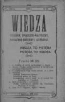 Wiedza. Tygodnik społeczno-polityczny, popularno-naukowy i literacki 1908, Rok II, Tom I, Nr 23