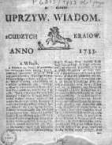 Uprzywilejowane Wiadomości z Cudzych Krajów 1733, Nr 185