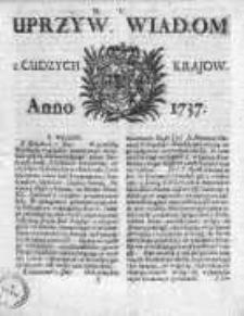 Uprzywilejowane Wiadomości z Cudzych Krajów 1737, Nr 5