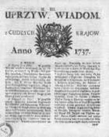 Uprzywilejowane Wiadomości z Cudzych Krajów 1737, Nr 12
