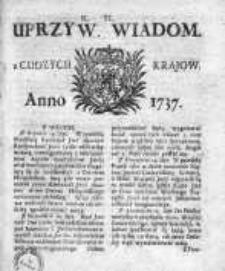 Uprzywilejowane Wiadomości z Cudzych Krajów 1737, Nr 40