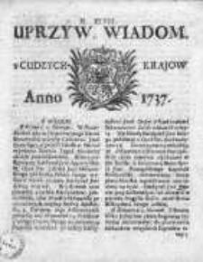Uprzywilejowane Wiadomości z Cudzych Krajów 1737, Nr 48