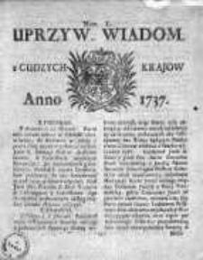 Uprzywilejowane Wiadomości z Cudzych Krajów 1737, Nr 50