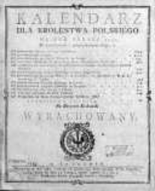 Kalendarz dla Królestwa Polskiego... na horyzont krakowski wyrachowany 1790