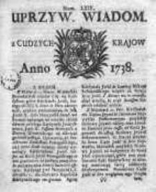 Uprzywilejowane Wiadomości z Cudzych 1738, Nr 64