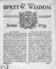 Uprzywilejowane Wiadomości z Cudzych Krajów 1738, Nr 82