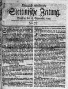 Stettinische Zeitung. Königlich privilegirte 1759, Nr 77