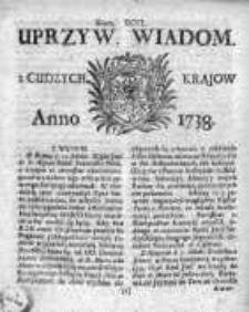 Uprzywilejowane Wiadomości z Cudzych Krajów 1738, Nr 96
