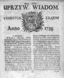 Uprzywilejowane Wiadomości z Cudzych Krajów 1738, Nr 99