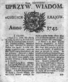 Uprzywilejowane Wiadomości z Cudzych Krajów 1743, Nr 345