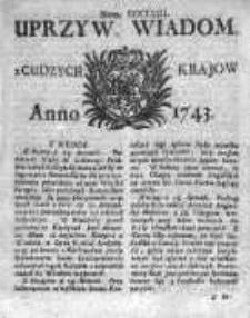 Uprzywilejowane Wiadomości z Cudzych Krajów 1743, Nr 358